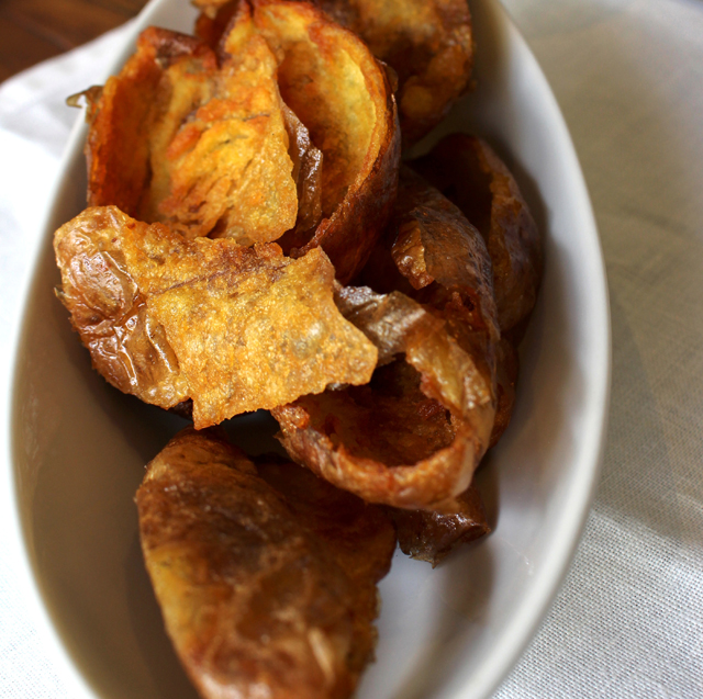 Cascas de batatas fritas: tremenda delícia que aparece de vez em quando nas mesas do novo Picchi